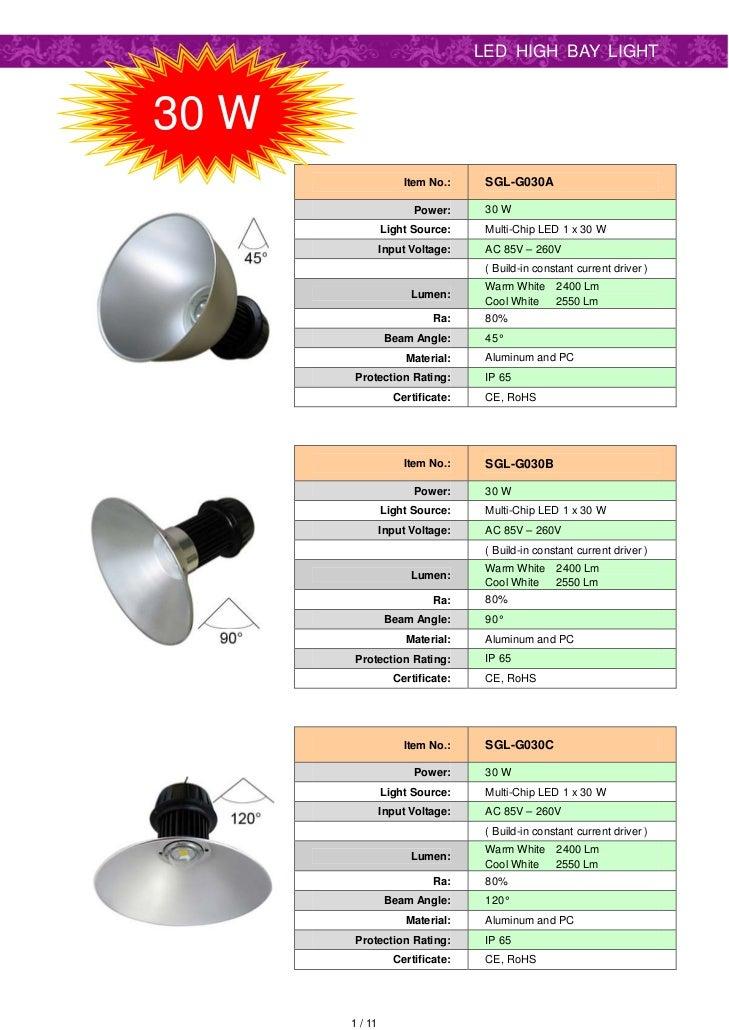 LED HIGH BAY LIGHT30 W                    Item No.:     SGL-G030A                      Power:      30 W                Lig...