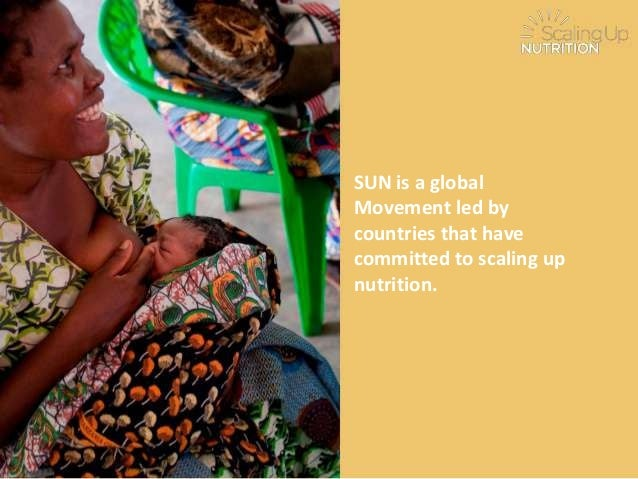 SUN is a global Movement led by countries that have committed to scaling up nutrition.