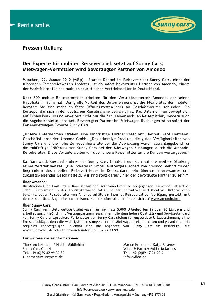 PressemitteilungDer Experte für mobilen Reisevertrieb setzt auf Sunny Cars:Mietwagen-Vermittler wird bevorzugter Partner v...
