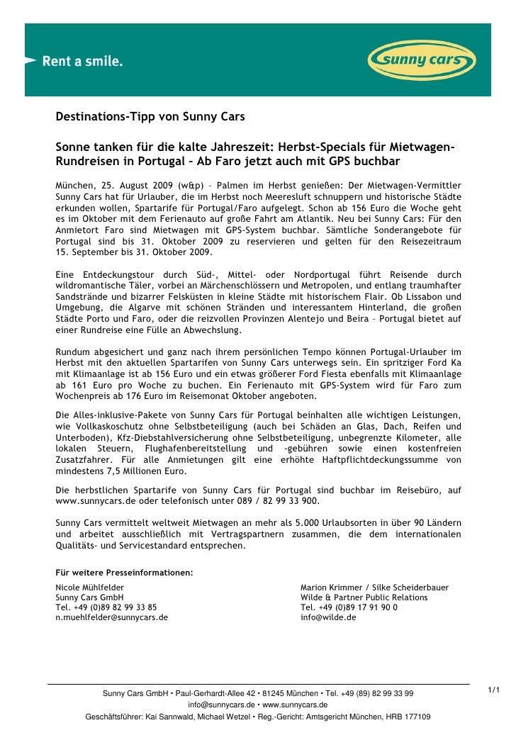 Destinations-Tipp von Sunny CarsSonne tanken für die kalte Jahreszeit: Herbst-Specials für Mietwagen-Rundreisen in Portuga...