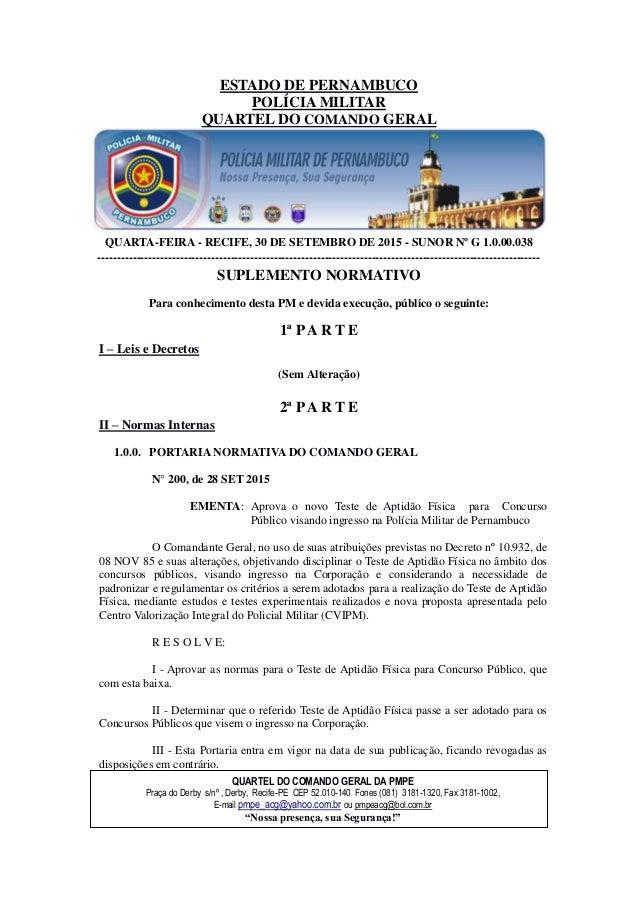 ESTADO DE PERNAMBUCO POLÍCIA MILITAR QUARTEL DO COMANDO GERAL QUARTA-FEIRA - RECIFE, 30 DE SETEMBRO DE 2015 - SUNOR Nº G 1...