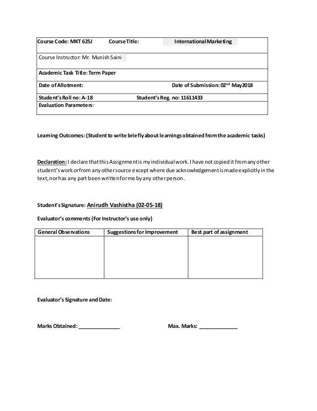 international marketing term paper