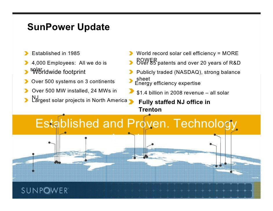 SunPower Update  Established in 1985                       World record solar cell efficiency = MORE  4,000 Employees: All...
