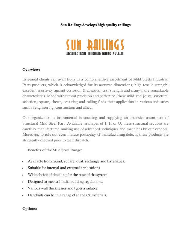 Sun Railings develops high quality railings Overview: Esteemed clients can avail from us a comprehensive assortment of Mil...