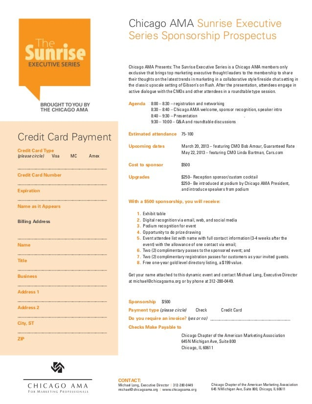 Chicago AMA Sunrise Executive                                                Series Sponsorship Prospectus                ...