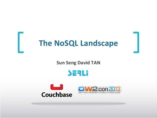 The NoSQL Landscape Sun Seng David TAN  SERLI
