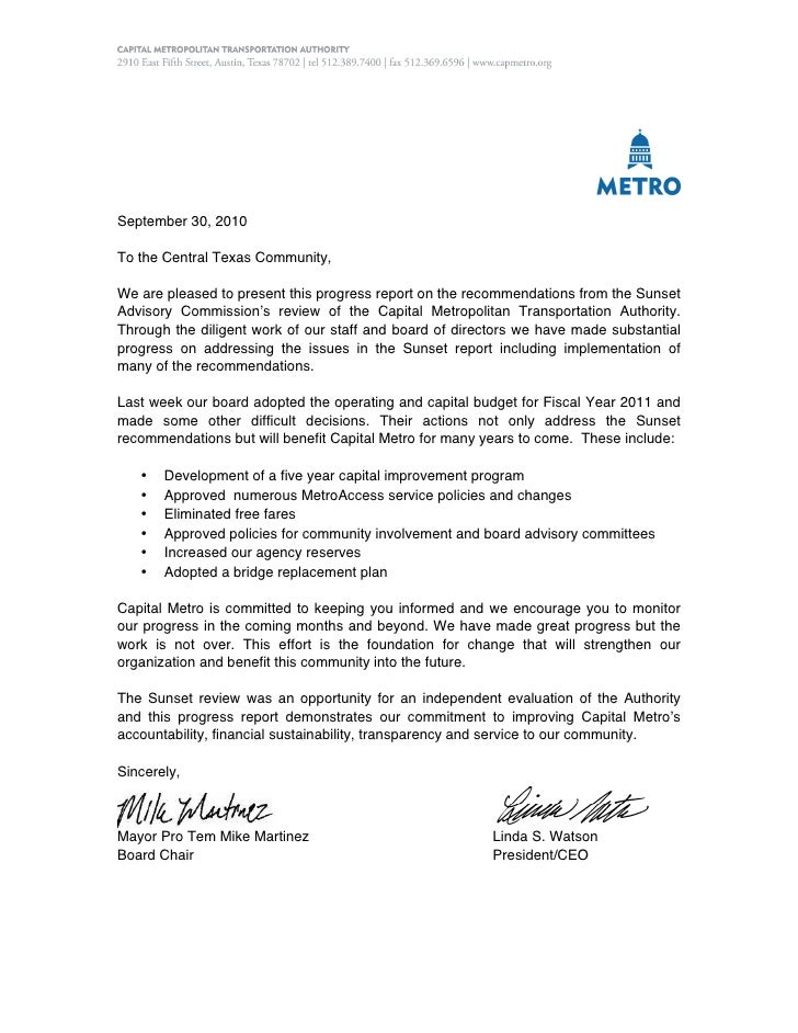 September 30, 2010To the Central Texas Community,We are pleased to present this progress report on the recommendations fro...