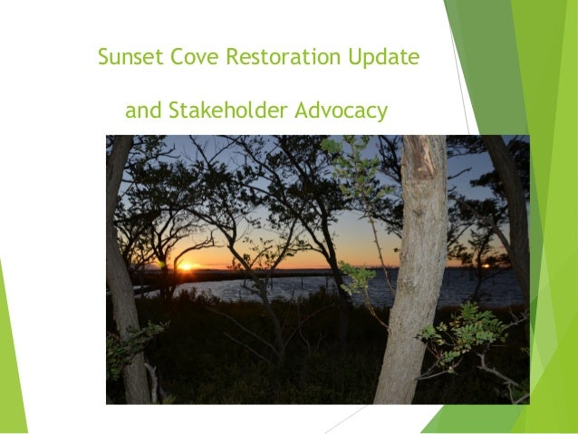 Sunset Cove Restoration Update and Stakeholder Advocacy