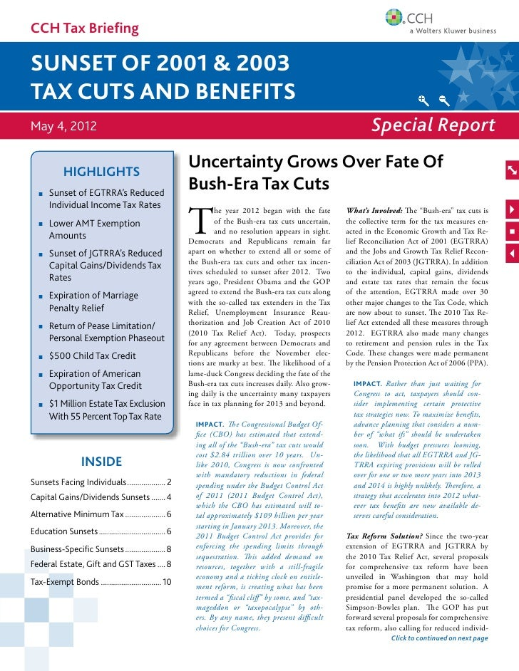 CCH Tax Briefingsunset of 2001 & 2003Tax cuts and benefitsMay 4, 2012                                                     ...