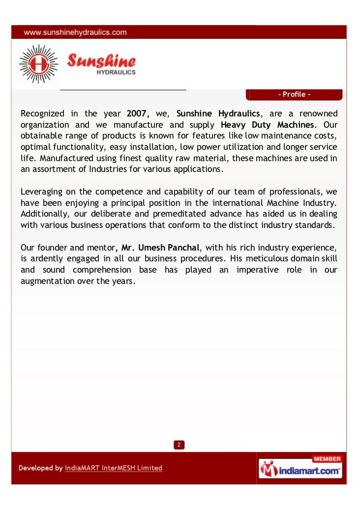 Sun Shine Hydraulics, Ahmedabad, Duty Machines Slide 2