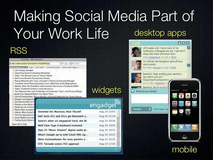 Making Social Media Part of Your Work Life RSS desktop apps widgets mobile