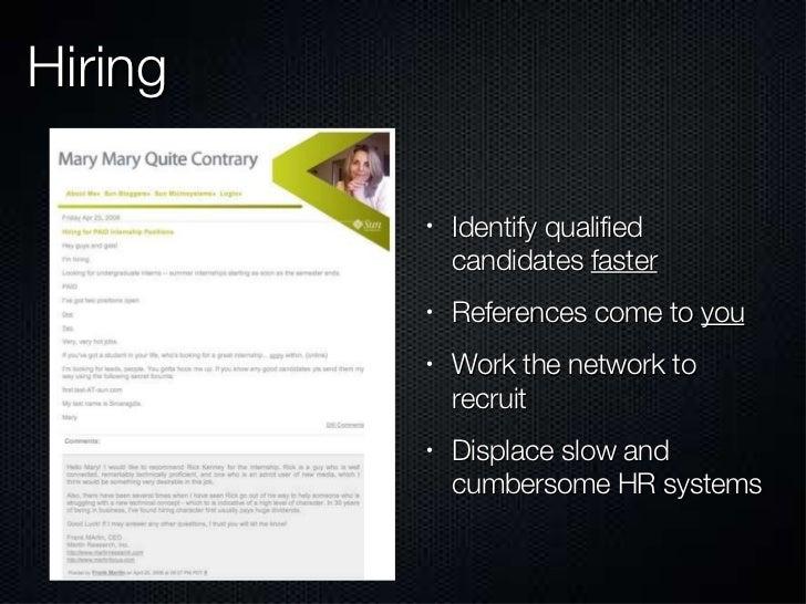 Hiring <ul><li>Identify qualified candidates  faster </li></ul><ul><li>References come to  you </li></ul><ul><li>Work the ...