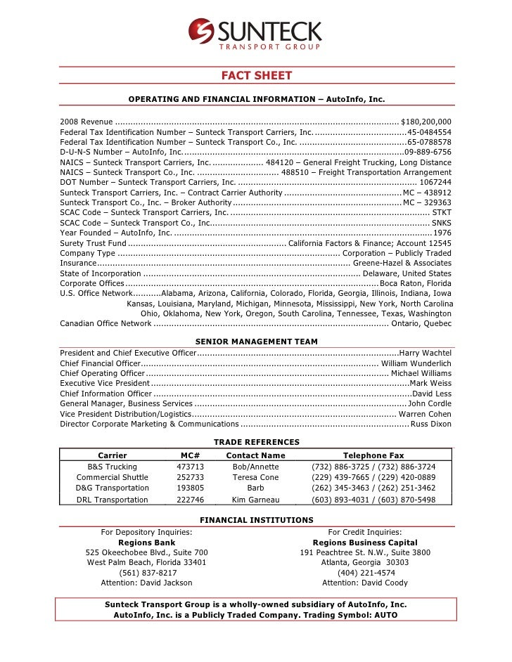 FACT SHEET                        OPERATING AND FINANCIAL INFORMATION – AutoInfo, Inc.  2008 Revenue ........................