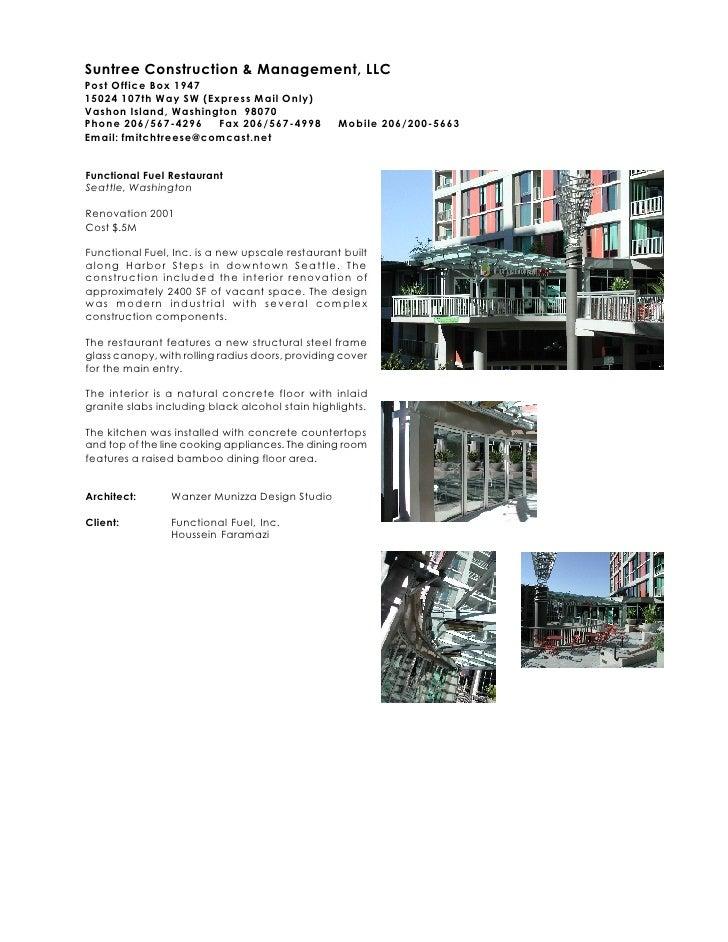 Suntree Construction & Management, LLC Post Office Box 1947 15024 107th Way SW (Express Mail Only) Vashon Island, Washingt...