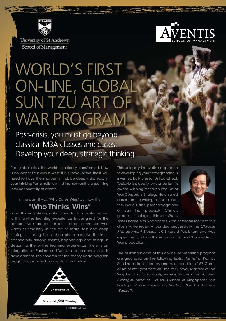 World's First    on-line, Global    sun tzu art oF    War ProGram    Post-crisis, you must go beyond    classical mba clas...