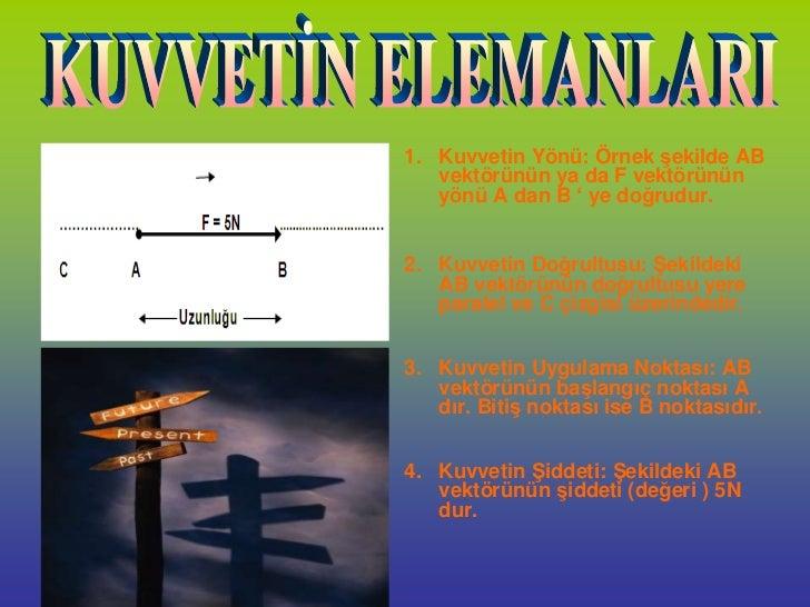 1. Kuvvetin Yönü: Örnek şekilde AB   vektörünün ya da F vektörünün   yönü A dan B ' ye doğrudur.2. Kuvvetin Doğrultusu: Şe...