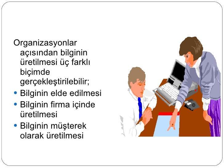 <ul><li>Organizasyonlar açısından bilginin üretilmesi üç farklı biçimde gerçekleştirilebilir; </li></ul><ul><li>Bilginin e...