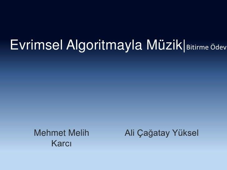 Evrimsel Algoritmayla Müzik Bitirme Ödevi<br />Mehmet Melih Karcı<br />Ali Çağatay Yüksel<br />