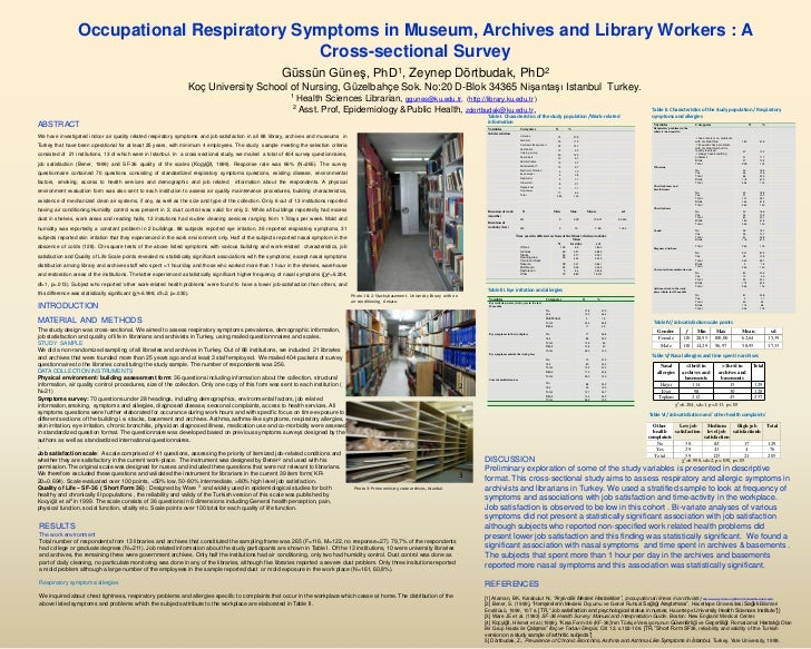 Occupational Respiratory Symptoms in Museum, Archives and Library Workers : A                                             ...