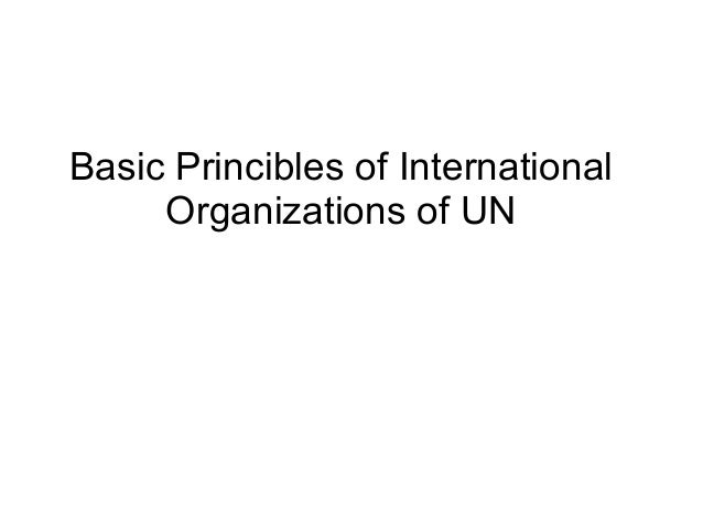 Basic Princibles of International Organizations of UN