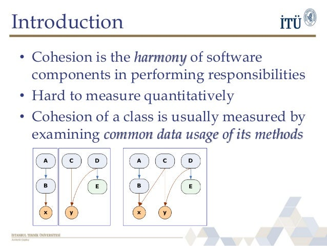 Introduction • Cohesion is the harmony of software components in performing responsibilities • Hard to measure quantitativ...