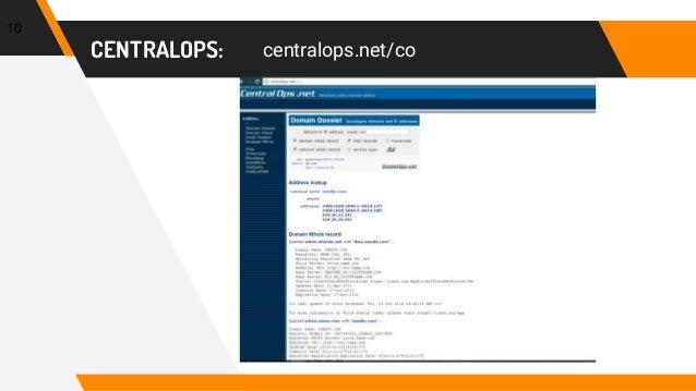 CENTRALOPS: centralops.net/co 10
