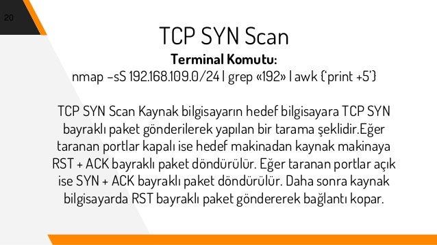 TCP SYN Scan Terminal Komutu: nmap –sS 192.168.109.0/24   grep «192»   awk {'print +5'} TCP SYN Scan Kaynak bilgisayarın h...