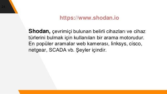 24 https://www.shodan.io Shodan, çevrimiçi bulunan belirli cihazları ve cihaz türlerini bulmak için kullanılan bir arama m...