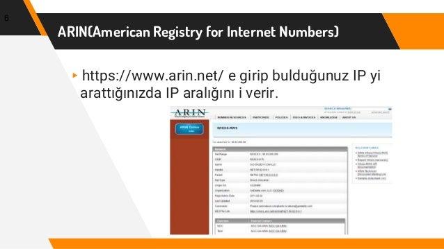 ARIN(American Registry for Internet Numbers) ▸https://www.arin.net/ e girip bulduğunuz IP yi arattığınızda IP aralığını i ...