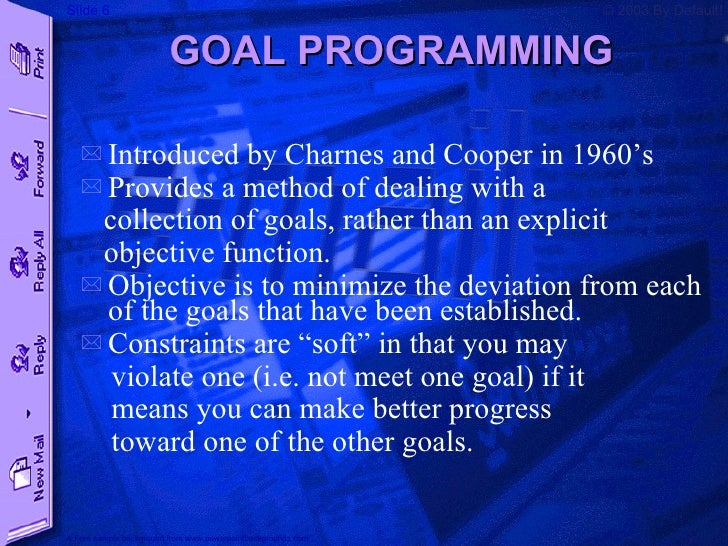 goal programming View notes - goal programming ad budgetxlsx from busa 542 at texas a&m university–commerce high-income men prime time soap operas evening news high-income women 6.