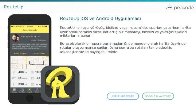peakodeRouteUp RouteUp iOS ve Android Uygulaması RouteUp ile koşu, yürüyüş, bisiklet veya motorsiklet sporları yaparken ha...