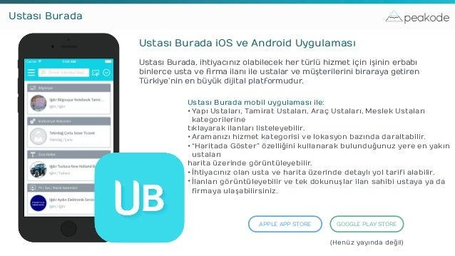 peakodeUstası Burada Ustası Burada iOS ve Android Uygulaması Ustası Burada, ihtiyacınız olabilecek her türlü hizmet için i...
