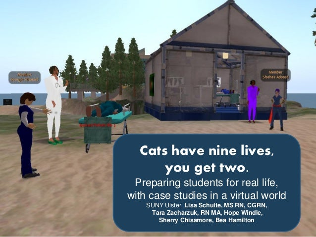 Cats have nine lives,you get two.Preparing students for real life,with case studies in a virtual worldSUNY Ulster Lisa Sch...