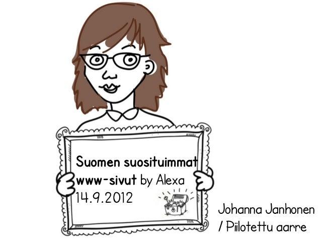 Suomen suosituimmatwww-sivut by Alexa14.9.2012                      Johanna Janhonen                      / Piilotettu aarre