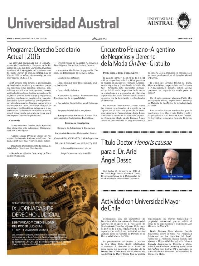 ISSN 0024-1636 UniversidadAustral BUENOS AIRES - miércoles 29 de junio de 2016 AÑO XVIII N° 3 TítuloDoctorHonoriscausae pa...