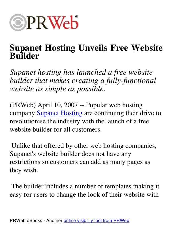 Supanet Hosting Unveils Free Website Builder Supanet hosting has launched a free website builder that makes creating a ful...