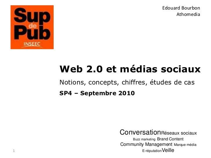 1<br />Edouard Bourbon<br />Athomedia<br />Web 2.0 et médias sociaux<br />Notions, concepts, chiffres, études de cas<br />...
