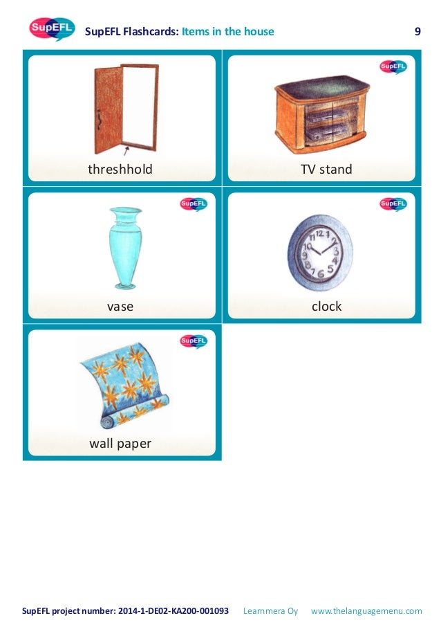 supefl flashcards  in the house  in english