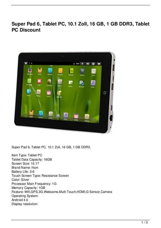 Super Pad 6, Tablet PC, 10.1 Zoll, 16 GB, 1 GB DDR3, TabletPC DiscountSuper Pad 6, Tablet PC, 10.1 Zoll, 16 GB, 1 GB DDR3,...