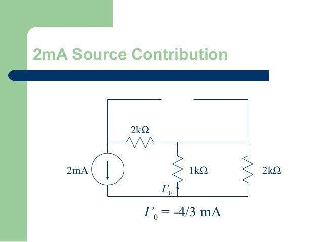 2mA Source Contribution  2kΩ  2mA  1kΩ I'0  I'0 = -4/3 mA  2kΩ