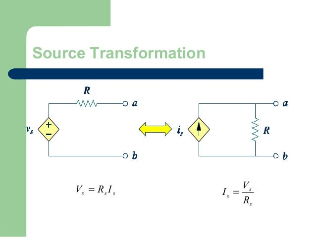 Source Transformation  Vs = Rs I s  Vs Is = Rs