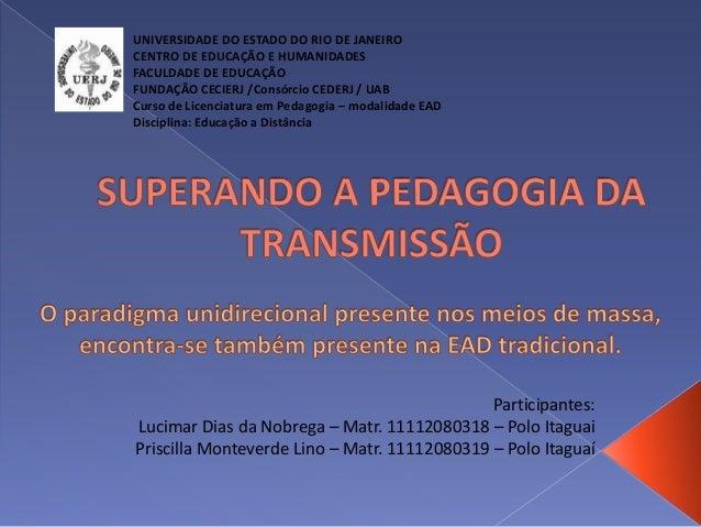 Participantes: Lucimar Dias da Nobrega – Matr. 11112080318 – Polo Itaguai Priscilla Monteverde Lino – Matr. 11112080319 – ...