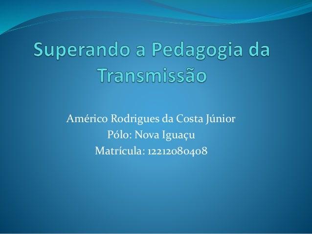Américo Rodrigues da Costa Júnior Pólo: Nova Iguaçu Matrícula: 12212080408