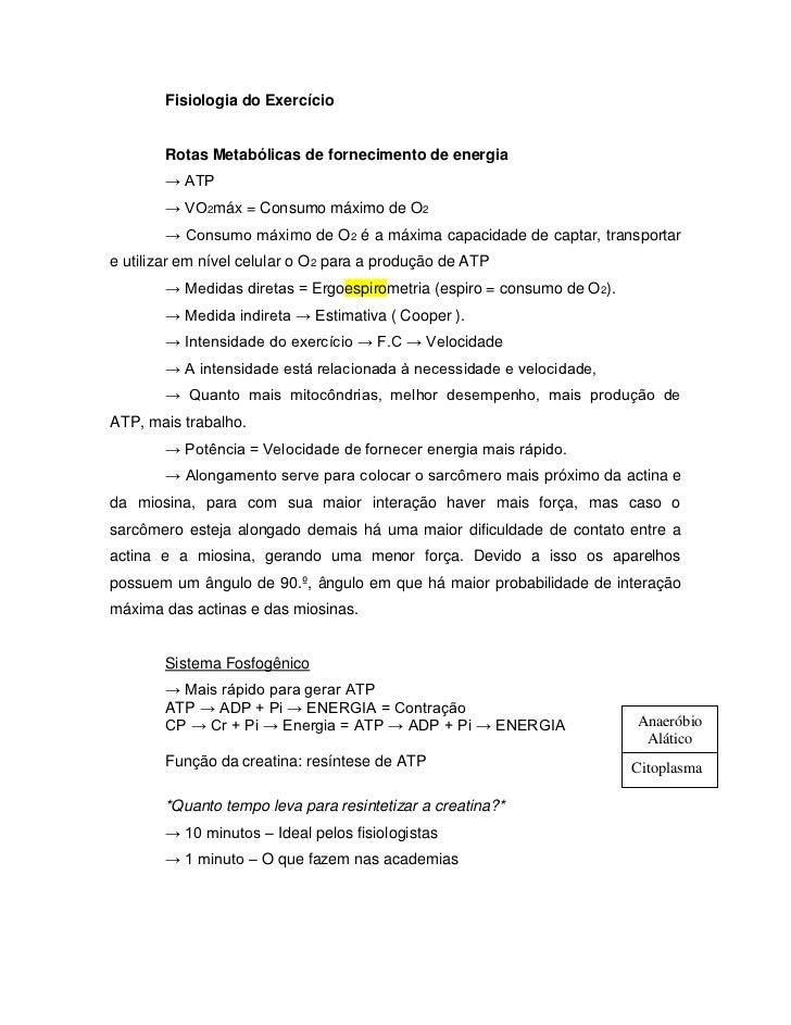Fisiologia do Exercício       Rotas Metabólicas de fornecimento de energia       → ATP       → VO2máx = Consumo máximo de ...