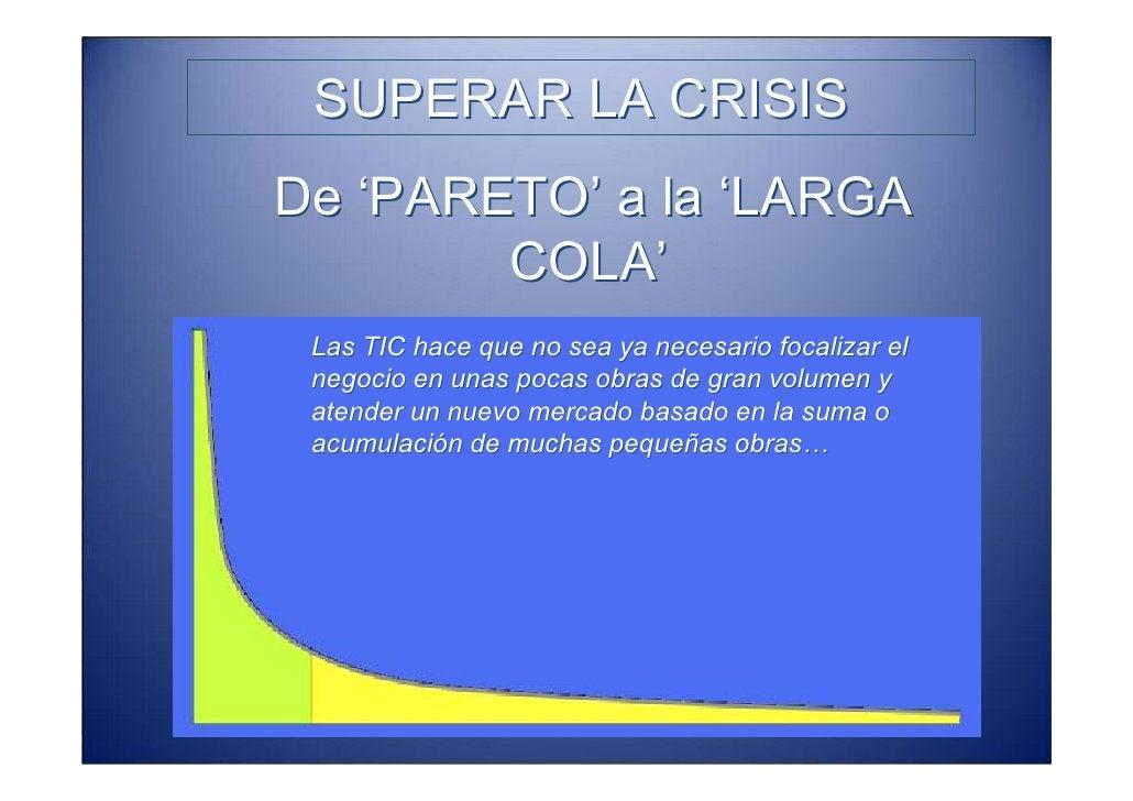 SUPERAR LA CRISIS De 'PARETO' a la 'LARGA         COLA'  Las TIC hace que no sea ya necesario focalizar el  negocio en una...