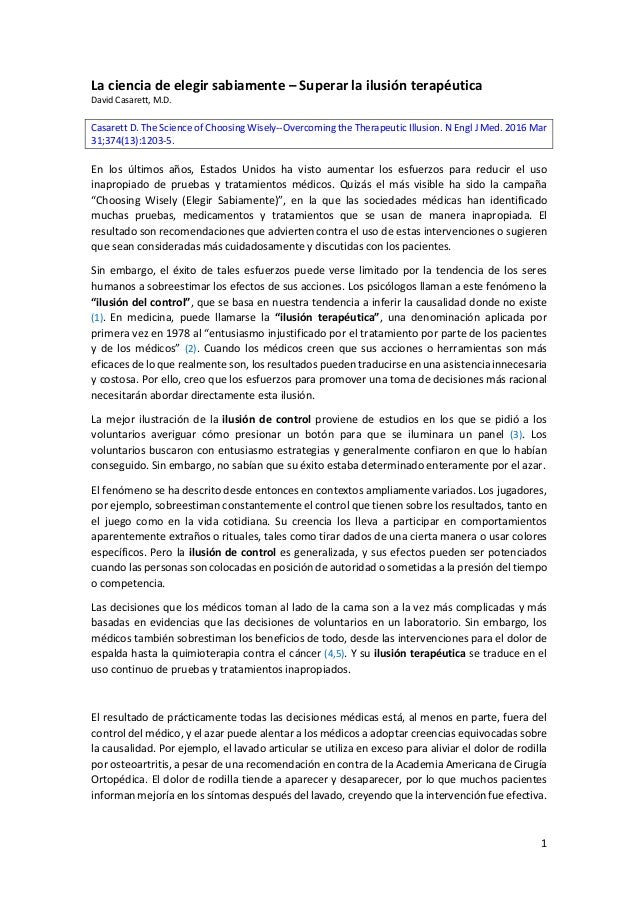 1 La ciencia de elegir sabiamente – Superar la ilusión terapéutica David Casarett, M.D. Casarett D. The Science of Choosin...