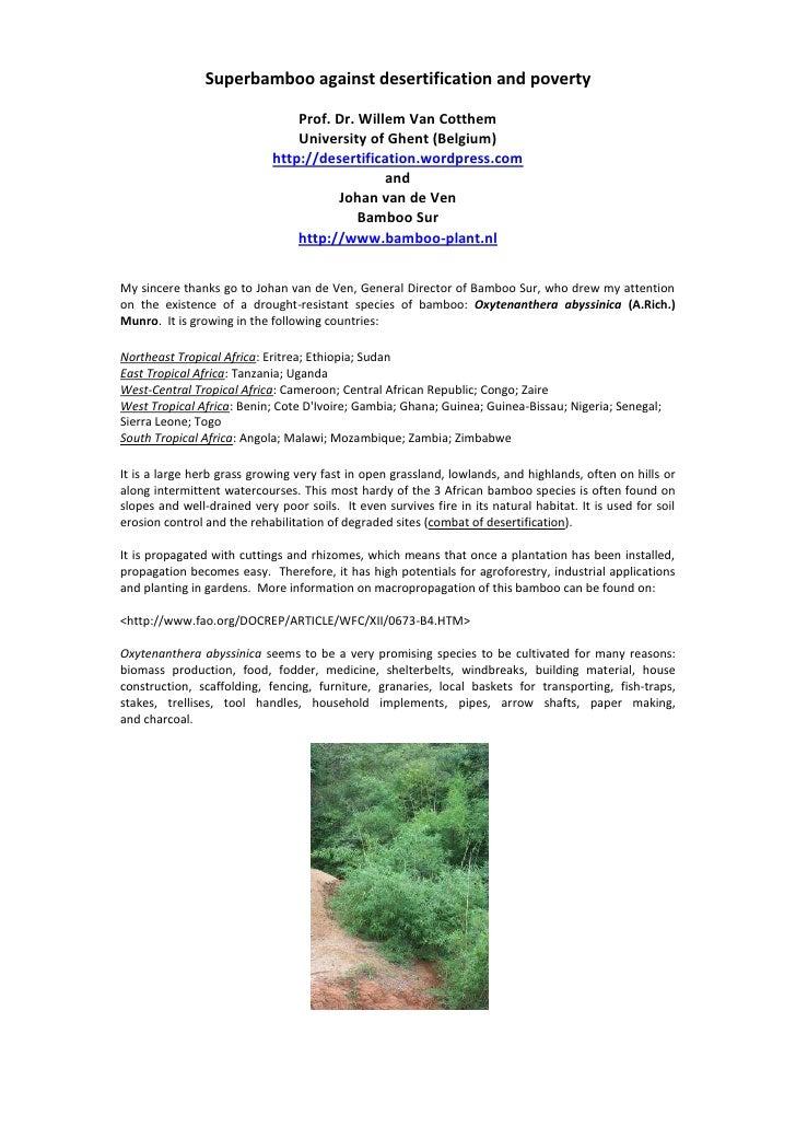 Superbamboo against desertification and poverty<br />Prof. Dr. Willem Van Cotthem<br />University of Ghent (Belgium)<br />...