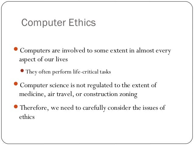 ethics of surveillance and computer monitoring Most discussions of the ethics of computer surveillance are informed by the principles of fair information practice that received widespread for example are the conditions of computer and telephone work monitoring of reservation and telephone receptionists jointly developed through a.