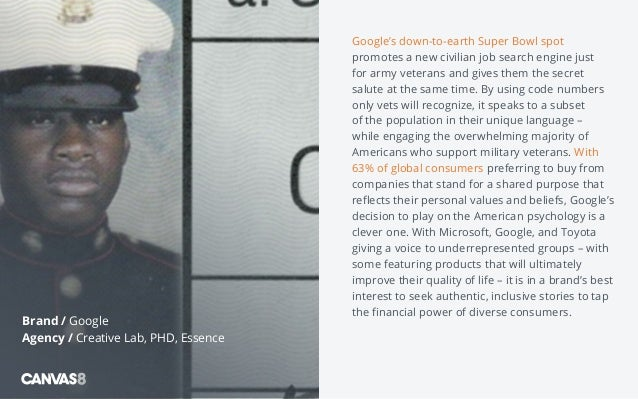 Google's down-to-earth Super Bowl spot promotes a new civilian job search engine just for army veterans and gives them the...