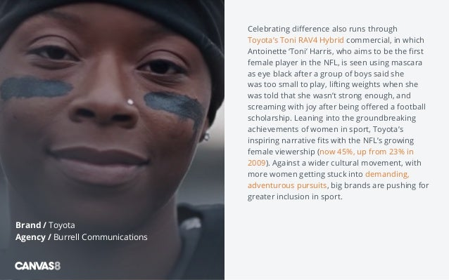 Celebrating difference also runs through Toyota's Toni RAV4 Hybrid commercial, in which Antoinette 'Toni' Harris, who aims...